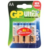 Элемент питания (батарейка алкалиновая) GP ULTRA PLUS LR06 (АА), (4 шт. на блистере) (ЦЕНА ЗА 4шт.)