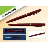 Ручка шариковая металлическая SCHREIBER, в футляре, красный  корпус, синяя (24/480) (S 3544)