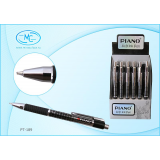Ручка шариковая автоматическая PIANO, 0,5мм, матовый, серебристый корпус с черным рисунком, синяя (2