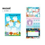 Расписание уроков А4 MAZARI ,картон, ассорти 4 дизайна (M-1654)