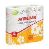 Туалетная бумага ЛАЙМА, 2-слойная, 4*19м, белая (4 рул./уп.) (Т206) (126904)